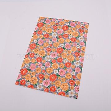 Flower Pattern Imitation Leather Fabric, for DIY Earrings Making, Orange, 21x30cm(DIY-WH0183-06E)