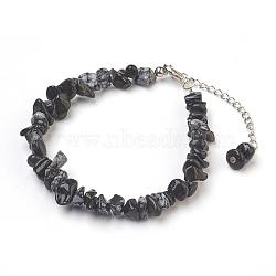 """Bracelets de cheville en perles d'obsidienne flocon de neige naturel, avec des perles en verre de graine, avec accessoires en laiton et en acier inoxydable, 8-1/2"""" (21.5 cm)(AJEW-AN00229-04)"""