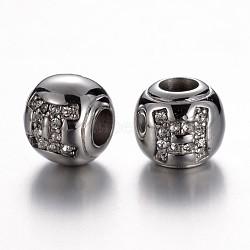 Perles européennes avec strass en 304 acier inoxydable, rondelle, constellation / signe du zodiaque, cristal, gemini, 12x10mm, Trou: 4.5mm(STAS-F057-14K)