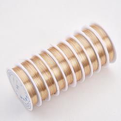 Fil de bijoux en cuivre, Plaqué longue durée, or clair, 21 jauge, 0.7 mm; 3.1 m / rouleau(X-CWIR-Q006-0.7mm-KC)