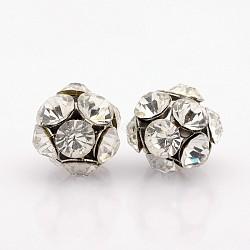 Perles de cristal strass de fer, rond et creux, platine, 16mm, Trou: 2mm(RB-J491-01P)