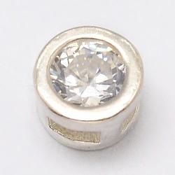 925 charmes de diapositives en argent sterling, avec zircons, plat rond, argent, 4.5x3 mm, trou: 1x2 mm(X-STER-K020-04S)