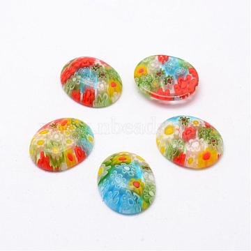 Handmade Millefiori Glass Cabochons, Oval, Mixed Color, 17x14x4mm(LAMP-G121-47)