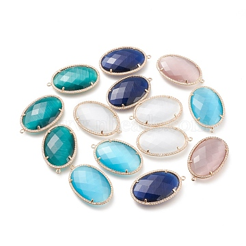 Faceted Cat Eye Pendants, with Brass Open Back Settings and Micro Pave Clear Cubic Zirconia, Oval, Golden, Mixed Color, 36x23x5.5mm, Hole: 1.4mm(CE-L023-009)