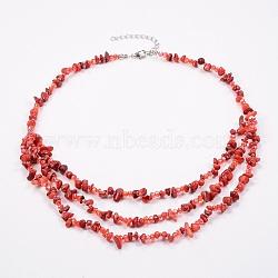 colliers à gradins en jaspe rouge naturel et perles de verre, colliers en couches, avec les résultats en laiton, 18.8 (48 cm)(NJEW-K100-05D)