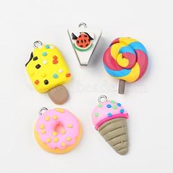 Belle alimentaires argile polymère de jeu pendentifs / liens, avec les accessoires en fer de platine plaqués, couleur mixte, 19~34x14.5~19x6.5~14mm, trou: 2 mm; 5 pcs / ensemble (CLAY-X0008)