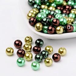 Choc-menthe perles de nacre mélange de perle de verre, couleur mixte, 8mm, trou: 1 mm; environ 100 PCs / sachet (HY-X006-8mm-04)