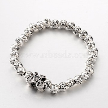 Bicycle Tibetan Style Alloy Beaded Stretch Bracelets, Antique Silver, 51mm(BJEW-E274-03AS)