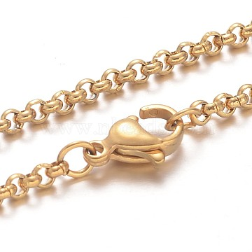 304 Stainless Steel Rolo Chain Necklaces, with Lobster Claw Clasps, Golden, 17.7 inches(45cm)(NJEW-F195-09A-G)