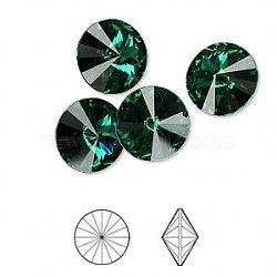 cristal autrichien cabochons de strass, passions de cristal, déjouer retour, facettes rivoli, 1122, 205 _emerald, 10.187~10.540 mm(X-1122-SS47-F205)