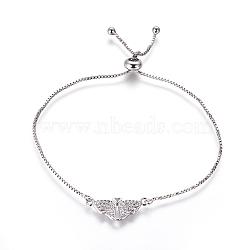"""Bracelets bolo réglables en laiton, Bracelets coulissants, chaînes de boîte, Avec de l'opale synthétique et de la zircone cubique, aile avec le coeur, platine, lilas, 9-5/8"""" (24.5 cm), 1mm(BJEW-L618-04P-A)"""