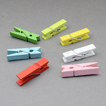 Wooden Craft Pegs Clips, Mixed Color, 35x7mm; 50pcs/bag(X-AJEW-S034-35mm)