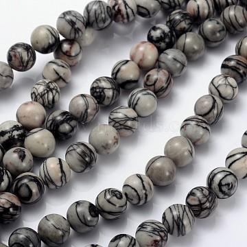 16 inches Gemstone Strands, Round,  Black Silk Stone/Netstone, Bead: 10mm in diameter, hole: 1mm. about 40pcs/strand(GSR10mmC137)