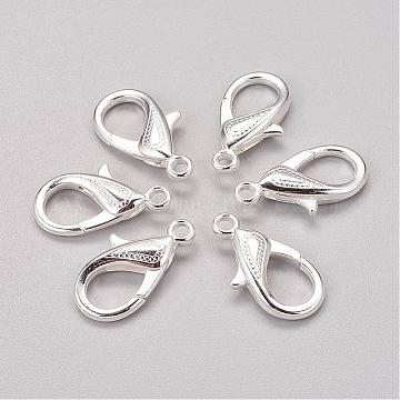Zinc Alloy Lobster Claw Clasps, Silver Color Plated, 30x17x6mm, Hole: 3mm(X-PALLOY-D008-S)