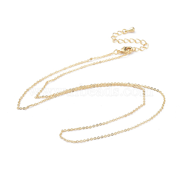 Brass Cable Chain Necklaces Making, with Lobster Claw Clasp, Real 18K Gold Plated, 17.51 inches(44.5cm)(X-MAK-P011-01G)