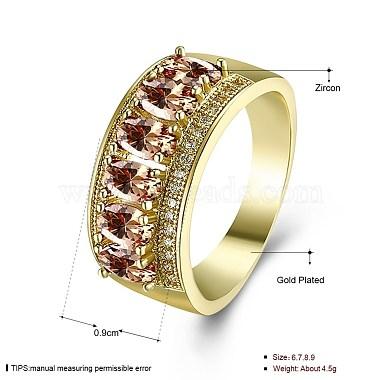 Orange Brass+Cubic Zirconia Finger Rings