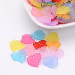 Mixtes pendentifs de feuille en acrylique transparent mat, 14x14x3mm, Trou: 1.5mm(X-FACR-R018-M)