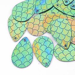pendentifs en cuir pu, larme à motif écailles de poisson sirène, mediumaquamarine, 39.5x25x1 mm, trou: 1.5 mm(X-FIND-T020-078A)