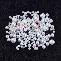 Imitation acrylique cabochons de perles, demi-rond / dôme, couleur mixte, 3~12.5x1.5~5mm(OACR-XCP0001-02)