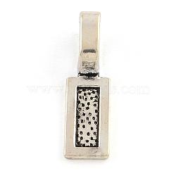 Tibétain alliage rectangle de style colle-sur les ballots de Flat Pad, sans plomb, argent antique, 26x8x9mm, trou: 8x5 mm; environ 500 pcs / 1000 g(TIBEP-R336-042AS-FF)