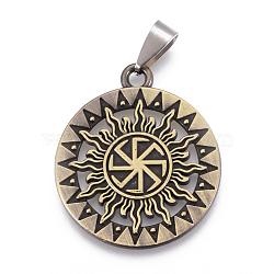 Pendentifs en alliage de style tibétain, avec les accessoires en acier inoxydable, plat rond, bronze antique et couleur d'acier inoxydable, 34x30x2mm, Trou: 4x9mm(PALLOY-E509-24AB)