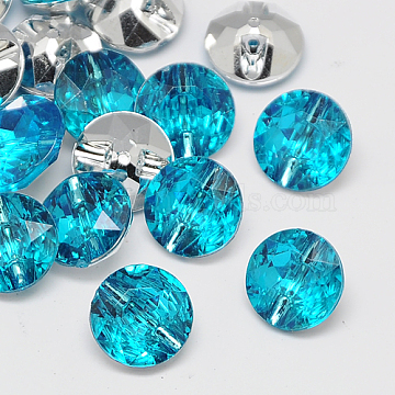 Taiwan Acrylic Rhinestone Buttons, Faceted, 1-Hole, Flat Round, Deep Sky Blue, 18x8.5mm, Hole: 1.5mm(BUTT-F020-18mm-25)