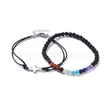 Stackable Bracelets Sets, with Natural & Synthetic Mixed Stone, Stainless Steel Findings and Waxed Polyester Cord, 7-3/8 inches(18.9cm) and 2-1/4 inches(5.6cm), 2pcs/set(BJEW-JB04358)