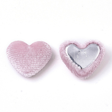 Velvet Cloth Fabric Covered Cabochons, with Aluminum Bottom, Heart, Pink, 14~15x16~17x6~7mm(X-WOVE-S084-14K)