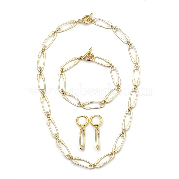 Safety Pin Chain Jewelry Sets, Alloy Bracelets & Hoop Earrings & Necklaces, with 304 Stainless Steel Toggle Clasps and Brass Earring Findings, Light Gold, 17.72 inches(45cm); 8-1/4 inches(20.9cm); 3.9cm , Pin: 0.8mm(SJEW-JS01115)