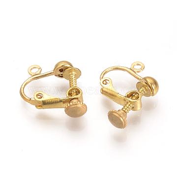 Brass Screw Clip-on Earring Setting Findings, Nickel Free, Raw(Unplated), 16x14x5mm, Hole: 1mm(KK-T021-09)