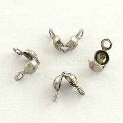 Caches noeuds en acier inoxydable, calotte se termine, couvre-nœuds à clapet, couleur inoxydable, 6x4mm, trou: 1.5 mm; environ 50 pcs / 5 g(X-STAS-R061-01)