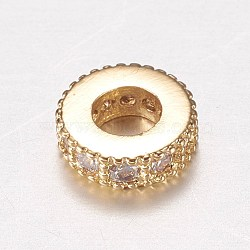 Brass Micro Pave Cubic Zirconia Spacer Beads, Rondelle, Clear, Golden, 6x2mm, Hole: 2.5mm(ZIRC-A008-14G)