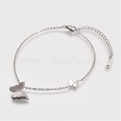 Bracelets de cheville en 304 acier inoxydable, Avec des crochets de homard et des chaînes d'allongement de fer, papillon, couleur inoxydable, 192mm(AJEW-K009-11P)
