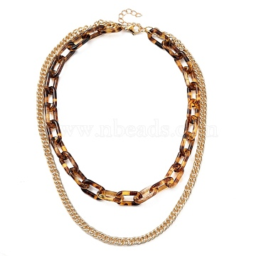 Transparent Acrylic & Aluminium Double Layer Necklaces, Chain Necklaces, Cable Chains & Curb Chains, Light Gold, 15.75 inches(40cm)(NJEW-JN02957)