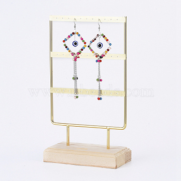 Iron 3-Tier Earring Display Stand, for Hanging Dangle Earring, with Wood Pedestal, Golden, 14.8x26.4x7.5cm(EDIS-E025-04)