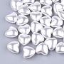 Creamy White Heart ABS Plastic Beads(X-OACR-T012-15B)