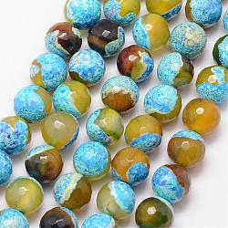 Natural Fire Agate Bead Strands, Round, Grade A, Faceted, Dyed & Heated, Cyan, 12mm, Hole: 1mm; about 32pcs/strand, 15inches