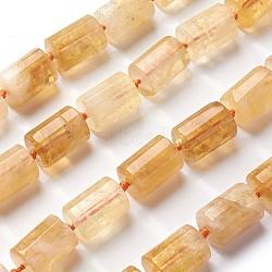 Природный цитрин бисер нитей, граненый, колонка, 16~19x11~12 mm, отверстия: 1.5 mm; о 20 шт / прядь, 15.3(G-J385-B07-12x16mm)