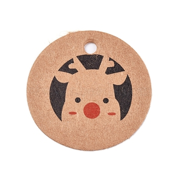 Paper Gift Tags, Hange Tags, For Arts and Crafts, For Christmas, Flat Round with Christmas Reindeer/Stag Pattern, BurlyWood, 30x0.3mm, Hole: 3mm(CDIS-L003-D01-B)
