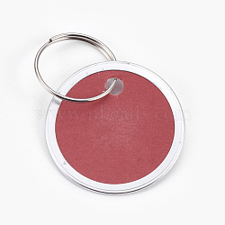 pendentifs en aluminium, avec fermoirs porte-clés en papier et en fer, plat rond, platine, brun, 31x1 mm; anneau: 19x1 mm, trou: 17 mm(FIND-WH0025-03)