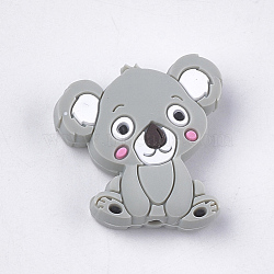 Food Grade Eco-Friendly Silicone Beads, Chewing Beads For Teethers, DIY Nursing Necklaces Making, Koala, Light Grey, 28x26x8mm, Hole: 2mm(X-SIL-T052-03G)