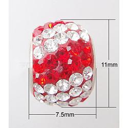 Perles européennes avec cristal autrichien de simple core en argent sterling , Perles avec un grand trou   , rondelle, 227 _light siam, 11x7.5mm, Trou: 4.5mm(X-CPDL-D007-1)
