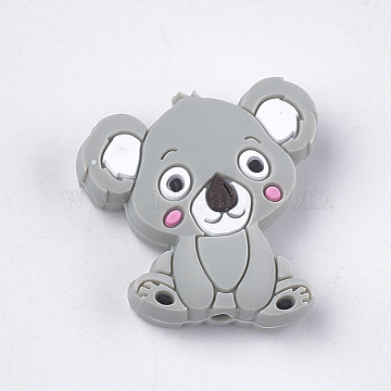 Food Grade Environmental Silicone Beads, Chewing Beads For Teethers, DIY Nursing Necklaces Making, Koala, LightGrey, 28x26x8mm, Hole: 2mm(X-SIL-T052-03G)