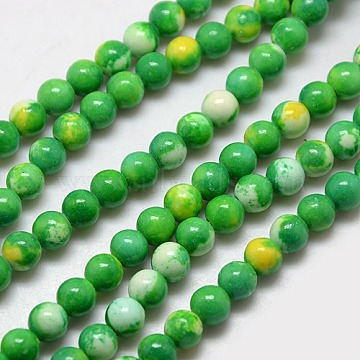 6mm LimeGreen Round Fossil Beads