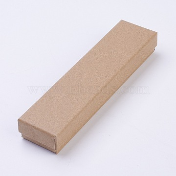 Kraft Paper Cardboard Jewelry Boxes, Bracelet Box, Rectangle, BurlyWood, 170x40x25mm(CBOX-WH0001-C01)