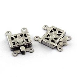 Fermoirs de boîte en 304 acier inoxydable, rectangle, 4 trou, 2 boucle, couleur inoxydable, 10x15x2.5mm, Trou: 1.5mm(X-STAS-Q194-27)