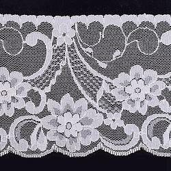 dentelle ruban nylon garniture pour la fabrication de bijoux, blanc, 3-1 / 2 (90 mm); à propos de 120 yards / rouleau (109.728 m / roll)(ORIB-F003-147)