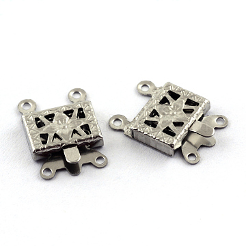 304 Stainless Steel Box Clasps, Rectangle, 4 Hole, 2 Loop, Stainless Steel Color, 10x15x2.5mm, Hole: 1.5mm(X-STAS-Q194-27)