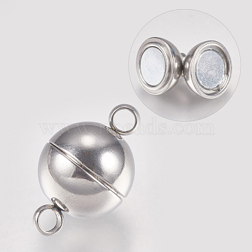 304 Stainless Steel Magnetic Clasps, Round, Stainless Steel Color, 19.5x12mm, Hole: 2.2~2.5mm(X-STAS-G173-05P-12mm)