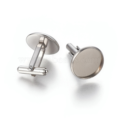 304 Stainless Steel Cufflinks Settings(STAS-E471-03A-P)-2
